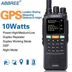 Image 1 - Abbree AR 889G GPS SOS Máy Bộ Đàm 10W 999CH Đêm Đèn Nền Duplex Repeater 2 Băng Tần Kép Nhận Ham Săn Bắn CB đài Phát Thanh