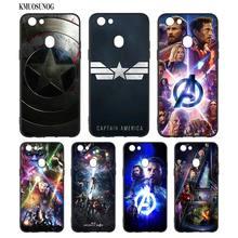 Black Silicon Soft Phone Case Avengers Iron Man Captain America For OPPO F5 F7 F9 A5 A7 R9S R15 R17 Bag
