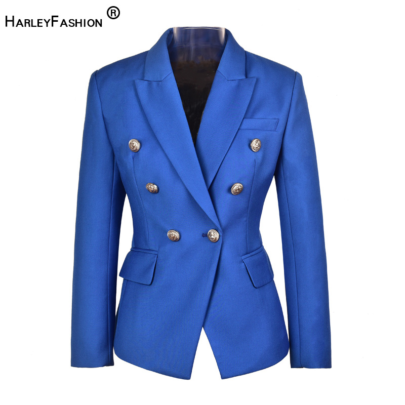 HarleyFashion Plus Size Women Elegant Fall Spring Design Euramerican Quality Jackets Slim Casual Blue Blazer
