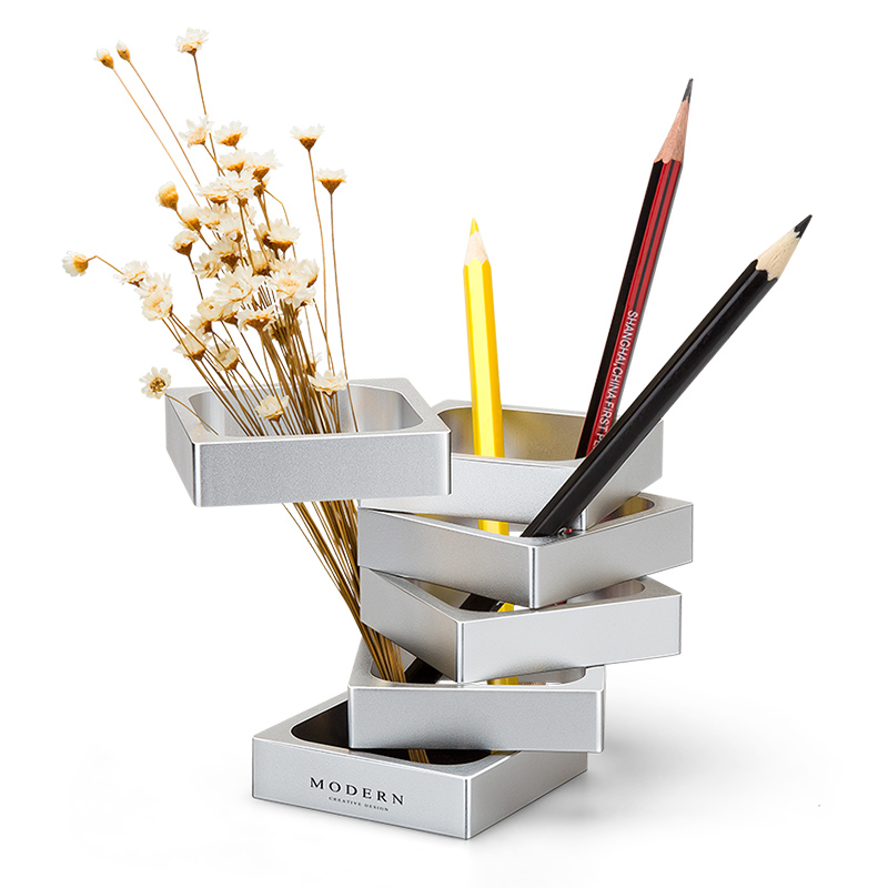 GIEMZA Metal Vase Small Creative Fashion Modern Deformation Pen Holder Square Vase 1pc Golden Silver Vases
