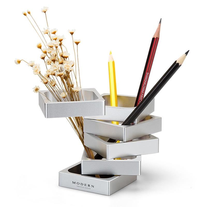 GIEMZA Metal Vase Small Creative Fashion Modern Deformation Pen Holder Square Vase 1pc Golden Silver Vases