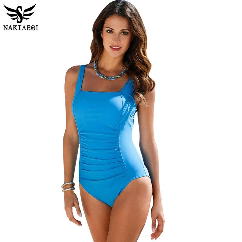 NAKIAEOI 2018 New One Piece Swimsuit Women Plus Size Swimwear Large Size Vintage Retro Padded Beach Bathing Suits Swim Wear 4XL 1