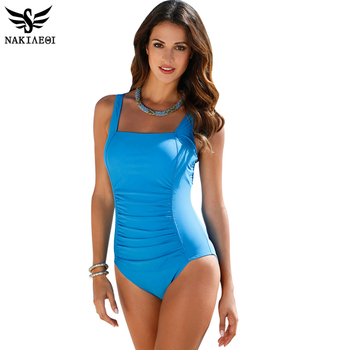 NAKIAEOI 2018 New One Piece Swimsuit Women Plus Size Swimwear Large Size Vintage Retro Padded Beach Bathing Suits Swim Wear 4XL 1