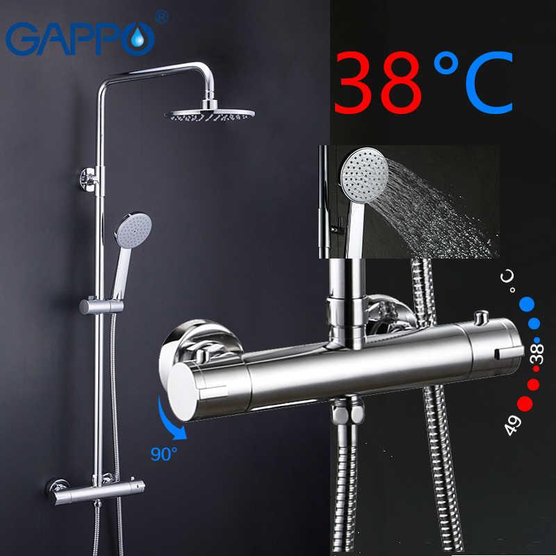 GAPPO thermostatic ชุดฝักบัว Rain Shower ชุดก๊อกน้ำร้อนและเย็นสีดำก๊อกน้ำอ่างอาบน้ำ thermostatic ฝักบัว