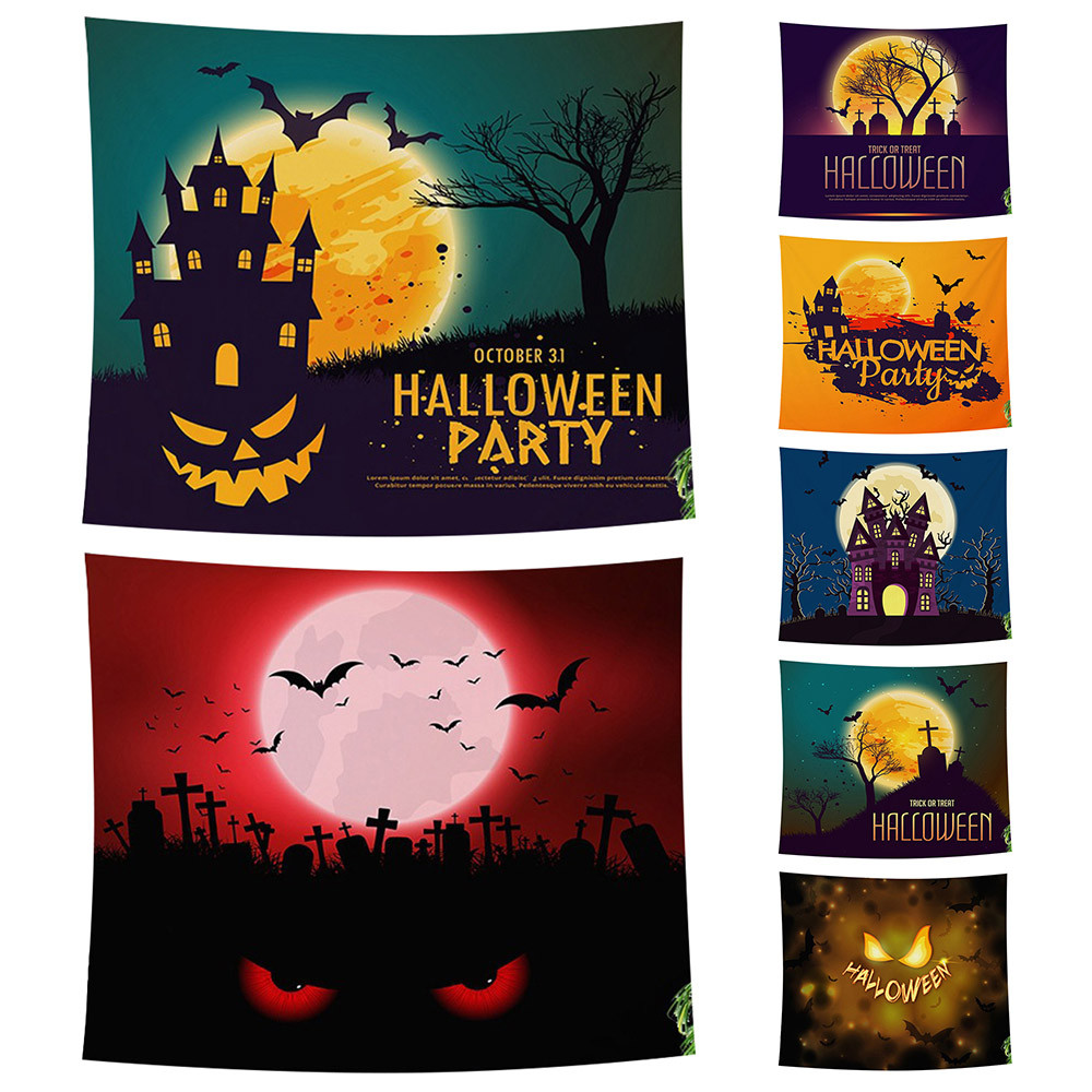 Sugar Skull Wall Tapestry Home Decorations Halloween Trick Treat Horror Ghost Wall Hanging Tapestries For Living Room Bedroom