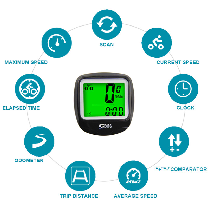 Sunding SD 568AE bicycle speedometer wired stopwatch bike computer cycle cycling odometer accessories electric display rainproof
