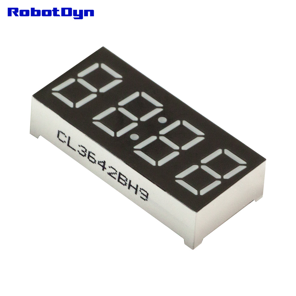 5pcs = 4-Digit 7-segments LED Display tube, doubledot/clock, WHITE, BLUE, GREEN, YELLOW, RED (each 1), disp. size 30x14mm, 0.36