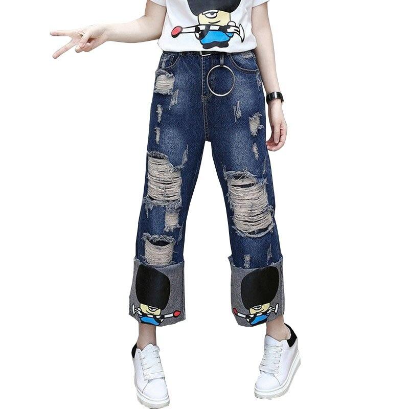 c1198ce5cf 2017 Boyfriend Primavera Ripped Jeans Para Mujeres de Cintura Alta de Ancho  pierna Pantalones Vaqueros de Dibujos Animados Pantalones Vaqueros Flojos de  Las ...