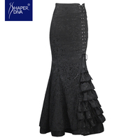 Burvogue Women 2016 New Vintage Trumpet Skirts Sexy Mermaid Long Skirt Lace Long Skirt Slimming Steampunk