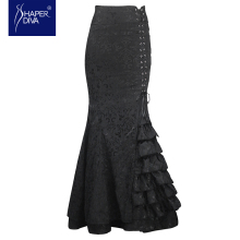 Burvogue Women New New Vintage Trumpet Skirts Sexy Mermaid Long Skirt Lace Long Skirt Slimming Steampunk Skirts Corset