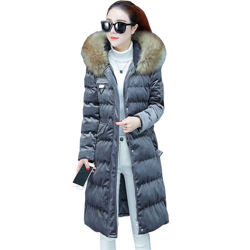 Women Fashion Big Fur Collar Cotton Coats Autumn Winter Thicken Warm Long Hooded Cotton Jackets Vintage Gold Velet   Parkas   FP1803