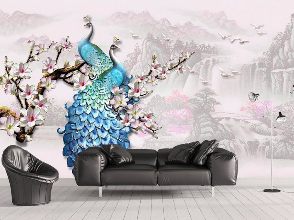 New Chinese Wall Murals Lifelike Peacock Animal Wallpapers For