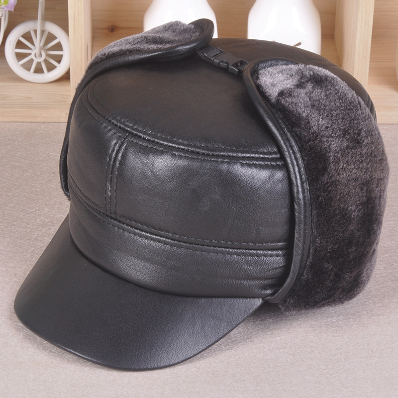 Men's winter sheep skin leather hat flat ear protection cap elderly casual Plus thick velvet baseball cap 100% Genuine leather military hat flat cap m177