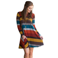 S 2XL Women casual rainbow stripe dress plus size loose shirt dresses female sexy vintage color dress autumn winter vestido