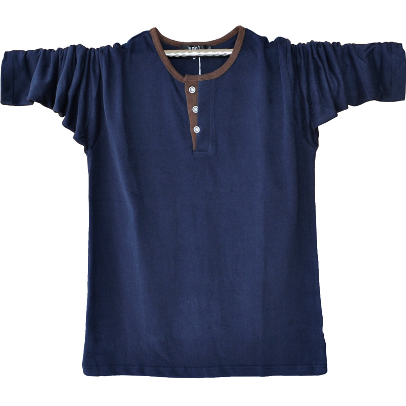 New Solid Color T Shirt Tee Shirt Homme 2016 Round Neck Henley Shirt Long Sleeve Tee Shirt Men Casual T Shirt 5XL A1314