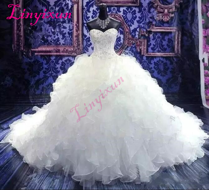 2018 Luxury Beaded Embroidery Wedding Dresses Sweetheart Corset Organza Ruffles Cathedral Ball Gown Wedding Dress Bridal Gowns