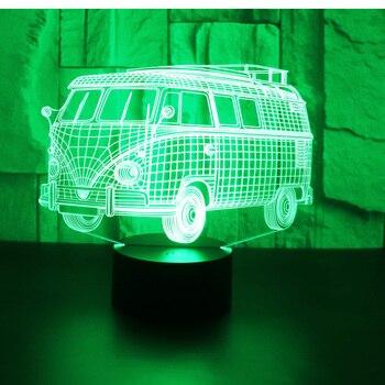 3D LED voiture de Bus de lumière de nuit avec 7 couleurs de lumière pour la décoration de la maison lampe incroyable visualisation Illusion d'optique génial
