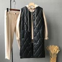 Women Winter PU Vest Waistcoat 2018 Autumn Black Women Faux Leather Sleeveless Long Vest Coat O Neck Windproof Outwear YS1807