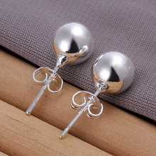 Wholesale High Quality Jewelry Silver Plated 8mm Bead Earrings for Women best gift SMTE073