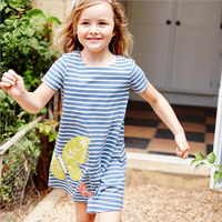 Little maven 6PCS Girls Cotton Dress Striped Animal Brand Summer Princess Dress Cartoon Children Costume for Kids Dresses