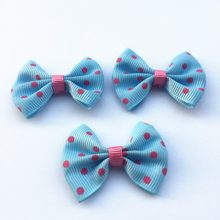 100 pçs/lote 45mm * 35mm Skyblue Com Fuchsia Dots Ribbon Bows Grosgrain Fitas Bow Enfeites Cardmaking