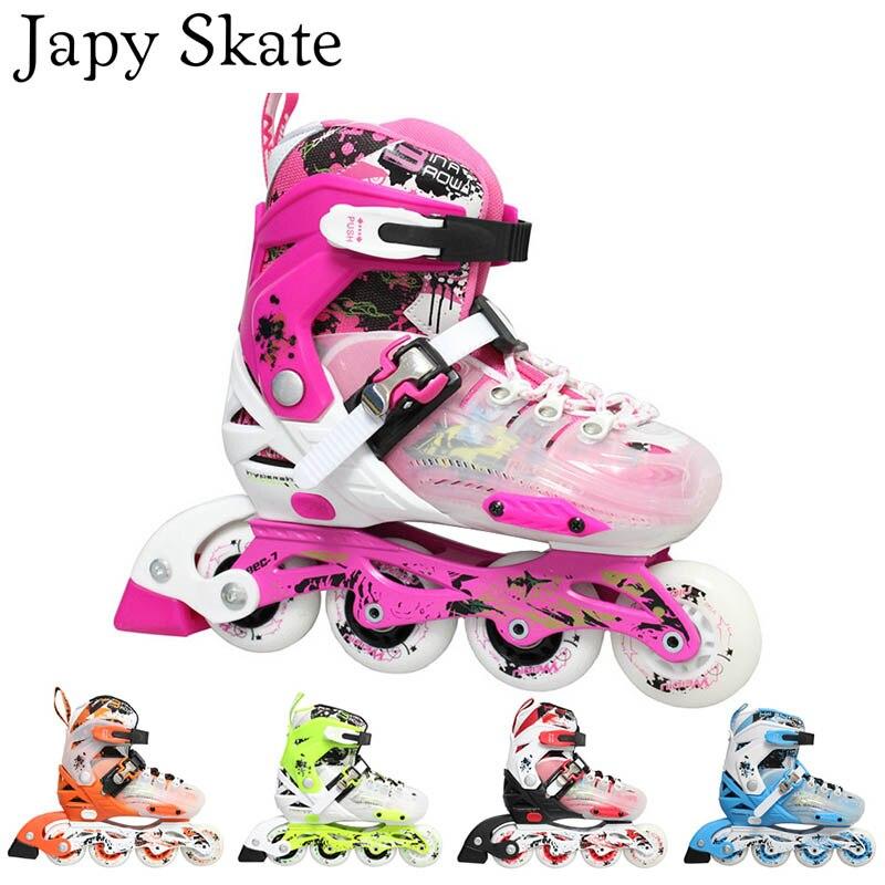 Japy Skate 2015 WeiQiu enfants patins à roulettes réglable quatre roues en plein air chaussures de patinage en ligne pour enfants série JJ 5 couleurs