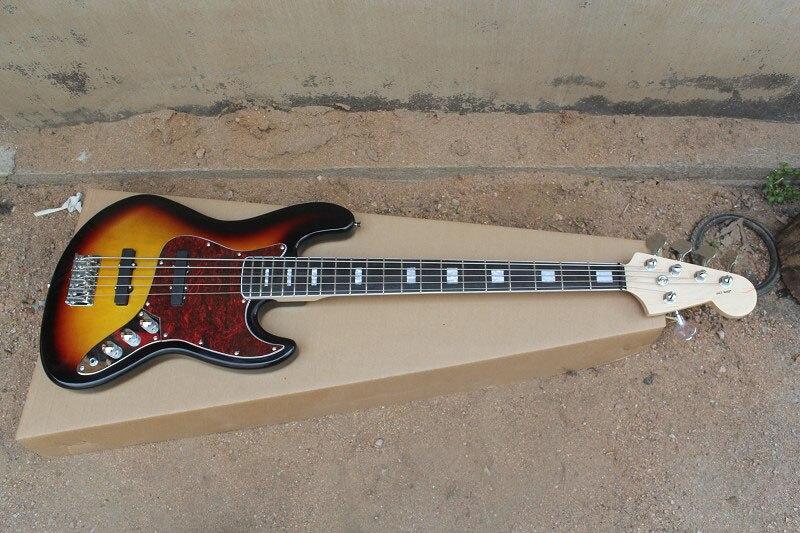 En gros Top qualité ébène touche 5 cordes coucher de soleil corlor basse guitare en Stock 4-23