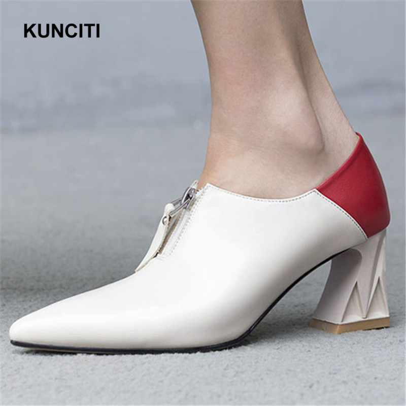 2019 KUNCITI Front Zipper Up Vintage Pumps Pointed Toe Sexy Ladies High Heel Shoes Match Color