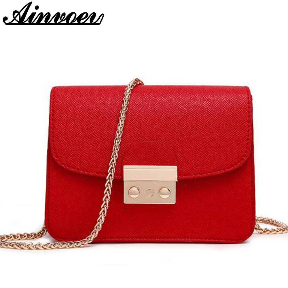 3b5237117bc Ainvoev Women Messenger Bag Chain Leather Small bags ladies Clutch Mini  Shoulder Bags Tote top flap travel school bags hl8522