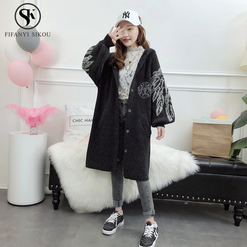 2018 Autumn Winter New Fashion Printing Hooded Cardigan women coat Thicken Warm Single Breasted Plus size