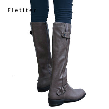 1c3295373bc0 Genuine leather knee high winter boots women Low heels fashion women boots  Plus size Black womens shoes Flats Brand fletiter - Trendy Shoes Outlet