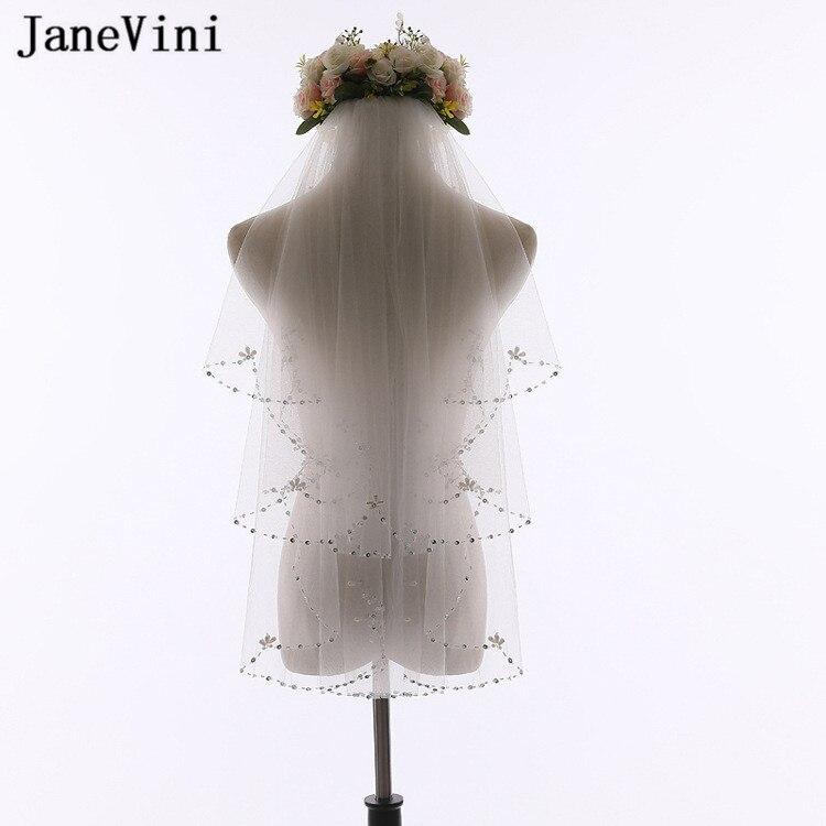 JaneVini цвета слоновой кости короткая свадебная фата с расчески жемчужные бусины 2 слоя свадебная вуаль волосы свадьба тюль невесты быть аксес