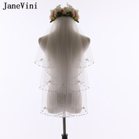 JaneVini Ivory Short Wedding Veils with Combs Beaded Pearl 2 Layer Bridal Veil Hair Wedding Tulle Bride to be Accessories 2019