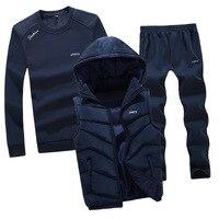 AmberHeard 2019 New Fashion Autumn Winter Men Sporting Suit Hoodie Vest+Sweatshirt+Pant Sportswear 3 Piece Set Tracksuit For Men