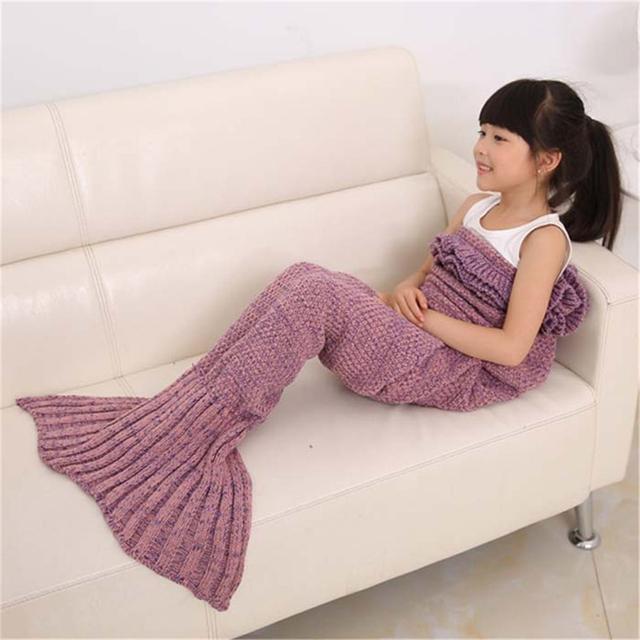 140*70 cm Punto Mermaid Tail Crochet Manta de Cama de Los Niños Abrigo Saco de dormir para niños Dormitorio