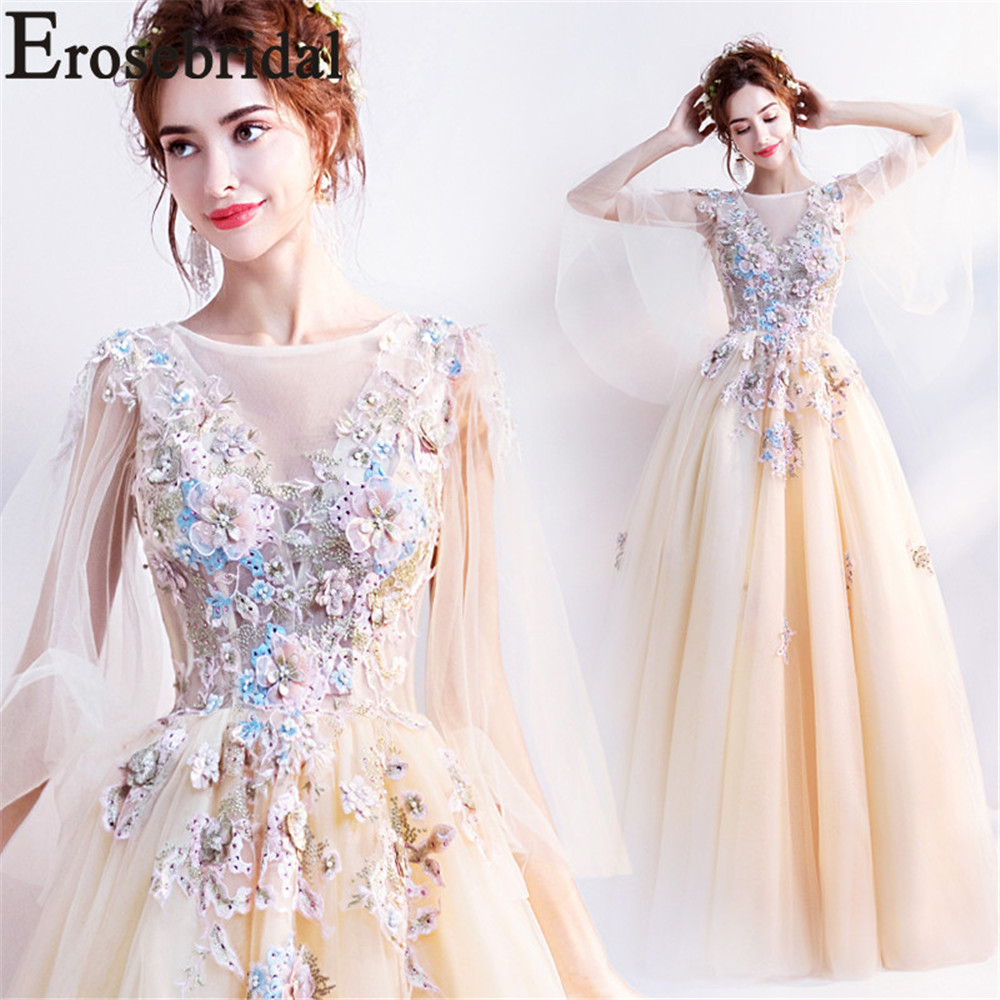 Erosebridal Elegant  3D Flower Evening Dress Long 2019 New A Line Formal Prom Party Gowns with Lace Up Back Tulle Shawl