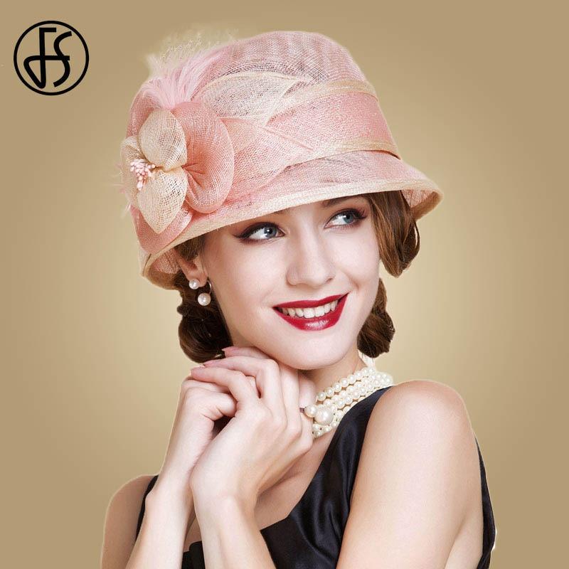FS Sinamay Hats Women Pink Fedoras Flowers Wide Brim Derby Hat Fascinator For Wedding Summer Church