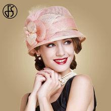 316dcb5f FS Sinamay Hats Women Pink Fedoras Flowers Wide Brim Derby Hat Fascinator  For Wedding Summer Church