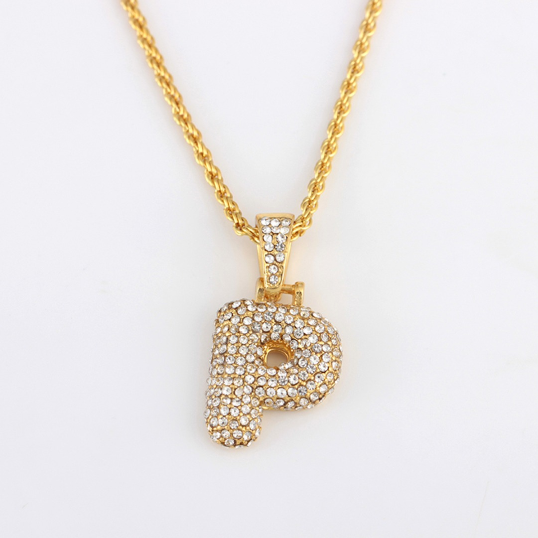 Shellhard Gold Color Iced Out Zirconia 26 A-Z Letters Pendant Necklace Punk  Initials Name Necklace Men Hip Hop Jewelry