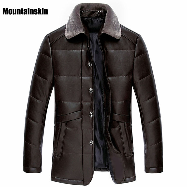 Mountainskin 4XL,2017 New Men's Leather Jackets Casual Fur Detachable Collar Coats Man Solid Fashion Warm Brand Clothing SA095
