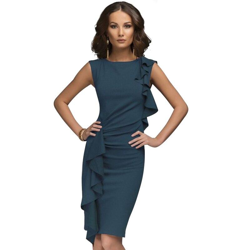 Blue Two Side Flounce Trim Plain Dress 2018 Round Neck Sleeveless Elegant Party Dress Women Short Pencil Dress
