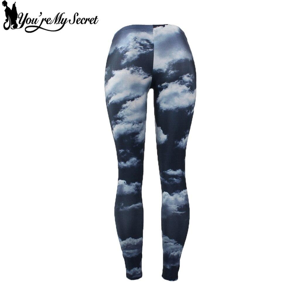 [Youre My Secret] Clouds Blue Sky Printing Leggings Women High Quality Slim Elasticity Mujer Leggins Women Sexy Fitness Pants