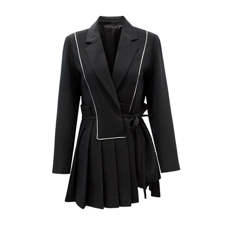 Высокое качество 2018 Новая модная цветная подходящая полосатая плиссированная кружевная Тонкая Повседневная Женская куртка с длинным рука