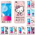 Para bbk vivo v5/para vivo y67 lindo de la historieta hello kitty vidrio templado film protector de pantalla + caja del teléfono de tpu suave cubierta