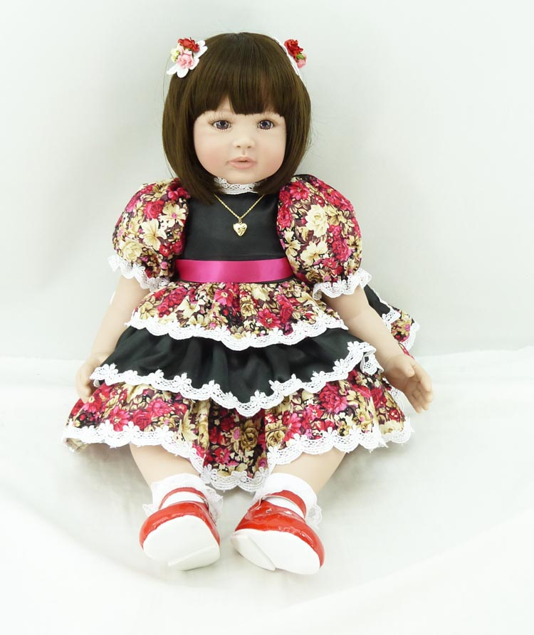 Pursue 24/60 cm Adora Red Flower Dress Silicone Reborn Baby Girl Doll for Sale Reborn Toddler Princess Girl for Christmas Gift handmade chinese ancient doll tang beauty princess pingyang 1 6 bjd dolls 12 jointed doll toy for girl christmas gift brinquedo