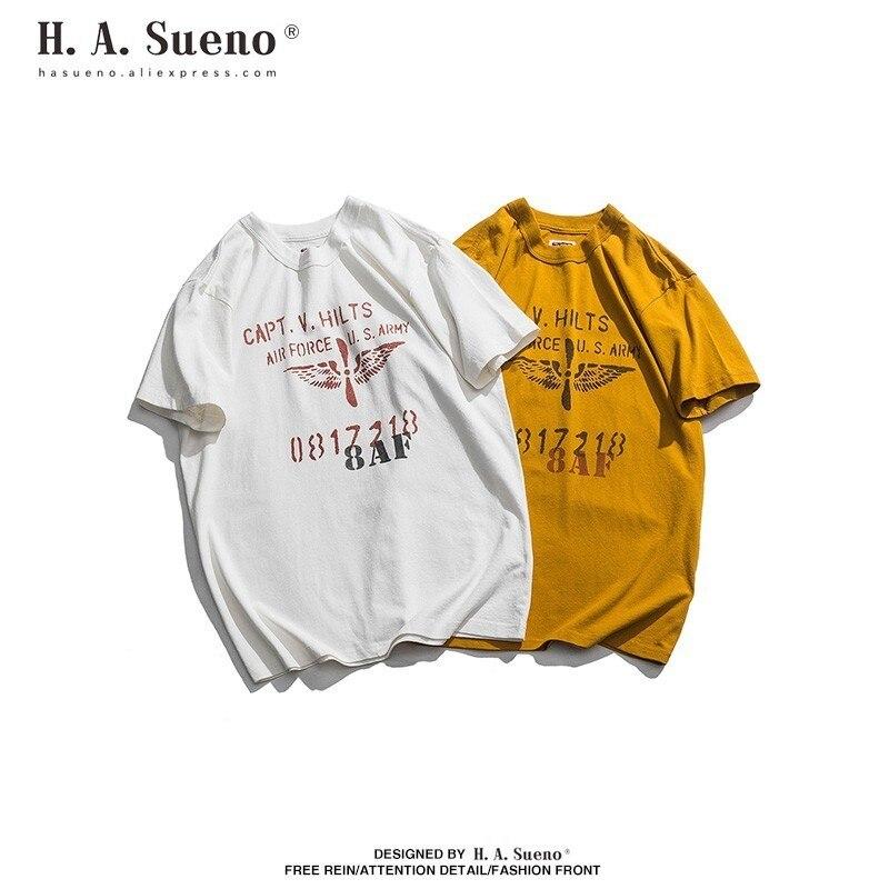 H. A. Sueno Style militaire été coton t-shirts hommes t-shirts drôles pour hommes Couples Shorts manches livraison directe soutien/5