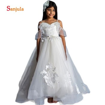 Puffy A-Line Flower Girls Dresses Sweetheart Spaghetti Straps Girls Birthday Party Dress Backless Girls Pageant Party Dress D282