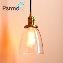 Fast&Free Delivery PERMO RETRO VINTAGE ANTIQUE INDUSTRIAL CEILING LAMP CAFE GLASS PENDANT LIGHT SHADE FIXTURE CE MARKED