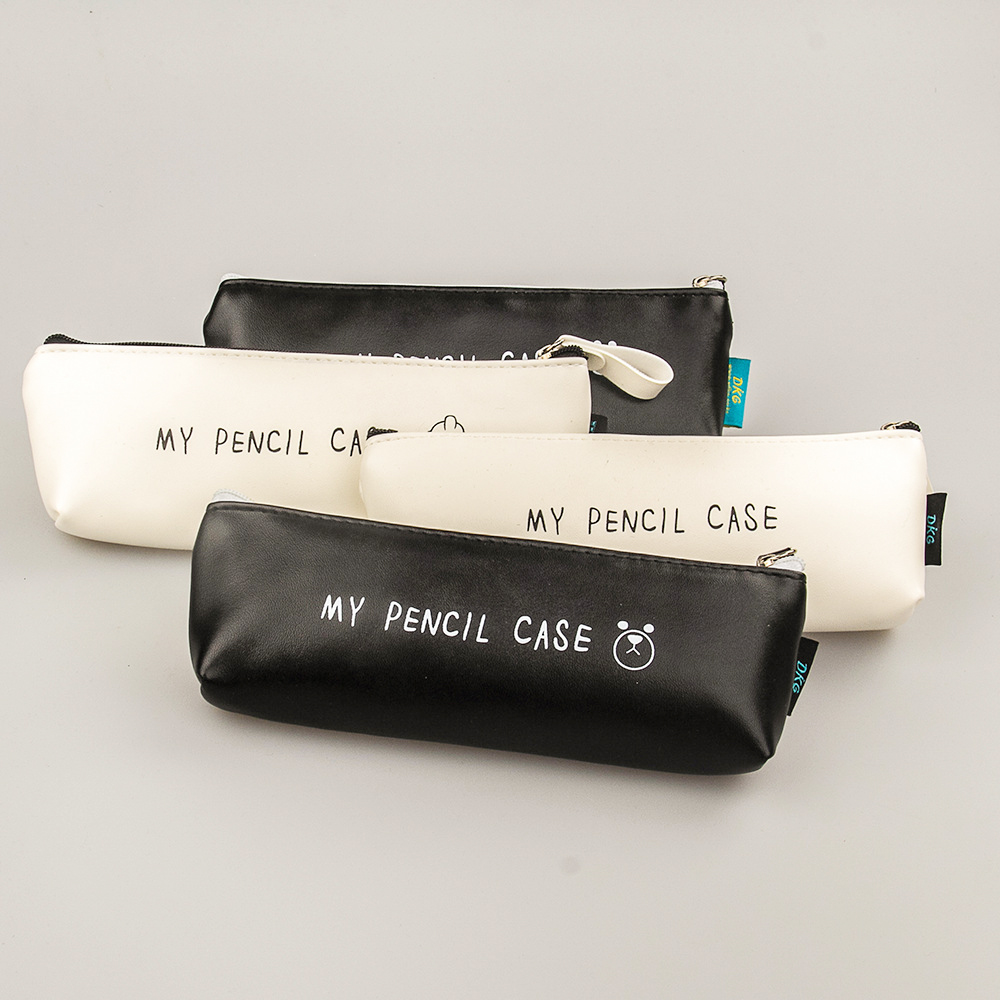 New Triangle My Pencil Case Classical Black  White Color Waterproof PU Leather Storage Cosmetic Bag
