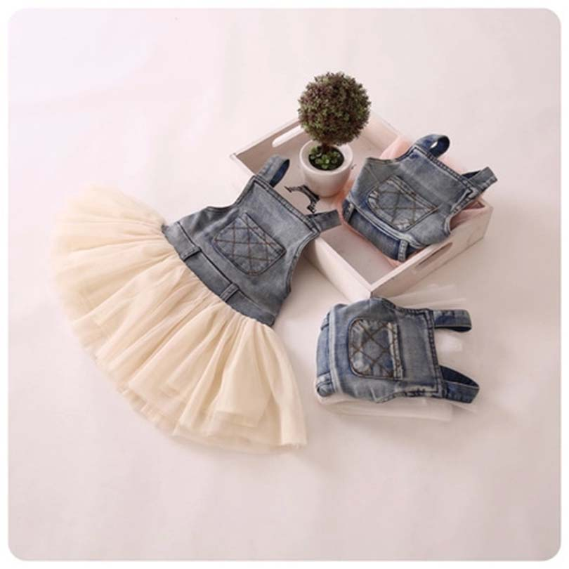 Fashion Summer Lace Denim Patch Baby Girl Dress Children Party Frock Baby Girls Kids Princess Party Tutu Dress For Girl 2-7 Year 2018 baby infant newborn girl winter princess dress headband outwear 3pcs set new born 1 2 year birthday party tutu dress